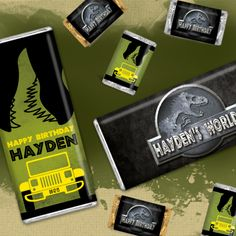 Jurassic World Birthday Party Ideas: Dinosaur themed birthday party favors personalized with your name!