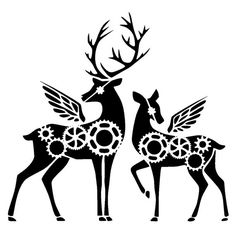 6/6 inches steampunk cogs deers stencil