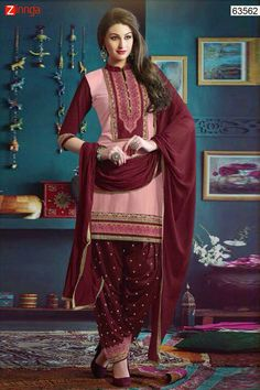 Patiala Style Pink & Maroon with Patch Work Incredible Unstitched Salwar Kameez. Message/call/WhatsApp at +91-9246261661 or Visit www.zinnga.com