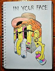 In your face (Marcos D. Torres) Tags: life red bw baby white black game moleskine face illustration pencil watercolor paper death design sketch video colorful drawing isaac illustrations pb mama sketchbook preto vermelho gimme doodle vida donuts illustrator doodles draw braco sketches marcos ilustrao desenho torres biding