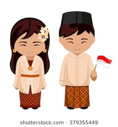 Indonesians in national dress with a flag. A man and a woman in traditional costume. Travel to Indonesia. Drawing For Kids, Art For Kids, Cultural Crafts, Indonesian Art, Cute Letters, Child Day, Character Costumes, Illustrations And Posters, World Cultures