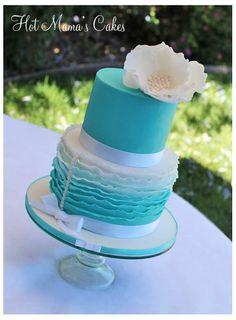 Ruffled cake in Tiffany Blue - by hotmamascakes @ CakesDecor.com - cake decorating website