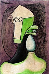 Head of a Woman V - Picasso  Pastel Drawing on Paper, Hand Signed and Dated, Approximate size: 19 x 13 Inches