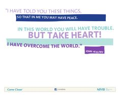 John 16:33 NIV Bible Verse About Peace Peace Bible Verse, Niv Bible, John 16 33, Overcome The World, How He Loves Us, Favorite Bible Verses, Faith In God, Word Of God, Cool Words