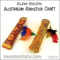 Australian Rainstick Craft for children from www.daniellesplace.com - Super Simple - uses only two sheets of paper, and newpaper. #MulticulturalArtsandCrafts