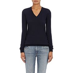 Barneys New York Women's Cashmere V-Neck Sweater ($450) ❤ liked on Polyvore featuring tops, sweaters, navy, navy blue sweater, blue cashmere sweater, blue top, v-neck sweater and blue v neck sweater