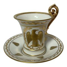 Napoleon Bee Laurel Cup & Saucer A Limoges Napoleonic style gilt porcelain cup and saucer. With bee, eagle and star laurel motifs. Hallmarked under glaze: Tea Rose Garden, Roses Garden, Chocolate Cups, Teapots And Cups, Tea Cup Saucer, Mug Cup, Tea Pots, Bee, Romantic Cottage