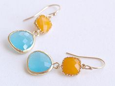 Mango and Aqua Drop Earrings  Drop Earrings  Faceted by FiveThirty, $22.50