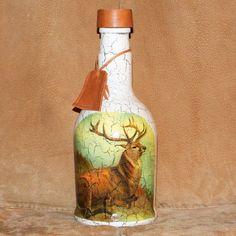 Poľovnícka fľaša Jeleň retro krémový