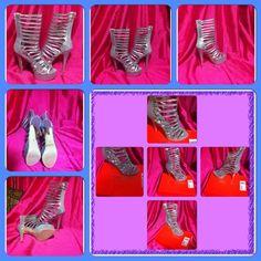 Shoes - NWOT Henry Ferrera New York Gladiator Silver Heels