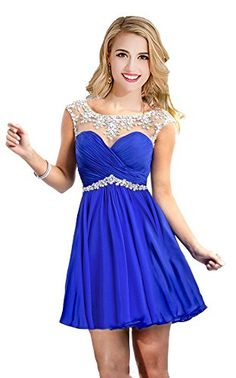 88fdc43cb96c Amazon.com: Babyonline Cap Sleeve Rhinestones Short Party Dress 2015 Prom  Dress: Clothing