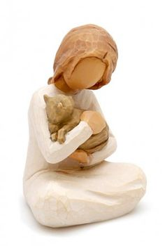 "Willow Tree Kindness Figurine, from Dogstuff.com. Part of artist Susan Lordi's treasured collection of inspirational figurines, the ""Kindness"" figurine depicts a girl sitting on the floor hugging and holding a cat. Each piece is cast from Lordi's original carvings and then individually painted..."
