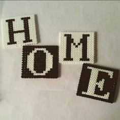 HOME Hama bead coasters by shazelle. Hama Beads Coasters, Diy Perler Beads, Perler Bead Art, Pearler Beads, Perler Bead Templates, Pearler Bead Patterns, Perler Patterns, Graph Paper Art, Hama Beads Design