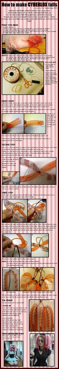 68 Trendy Diy Clothes Goth Tutorials How To Make - Diys Home Decor Cosplay Diy, Cosplay Costumes, Cyberpunk, Hair Extensions Tutorial, Rave Gear, Synthetic Dreads, Goth Makeup, Good Tutorials, Cybergoth