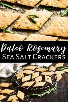 These homemade Paleo Rosemary Sea Salt Crackers are the perfect amount of savory and pair well with everything from soup to sliced bits of cheese. This recipe is super easy and quick to make. It's also gluten free and dairy free as well. They're popular with kids and make for a great healthy snack! #crackerrecipe #healthy #glutenfree #dairyfree #paleo