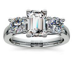 Emerald Trellis Three Diamond Engagement Ring in White Gold http://www.brilliance.com/engagement-rings/trellis-three-diamond-ring-white-gold-1-ctw