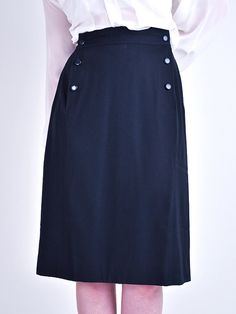 persephonevintage - NINA RICCI sailor pencil skirt (1980s)