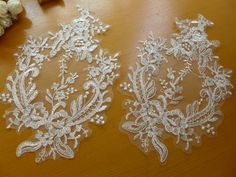 Items similar to French Bridal Lace Applique Pair in Off white for Wedding Gown, Bridal Veils, Headpiece on Etsy Beaded Trim, Beaded Lace, Lace Trim, Bridal Hair Flowers, Bridal Lace, Sequin Fabric, Lace Fabric, Swatch, French Lace