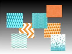 Custom Design Baby Bedding / Crib Quilt /  Bumper Pads and Crib skirt  Set Tangerine Aqua. $250.00, via Etsy. Both the fabric designs and the color palette appeal to me!