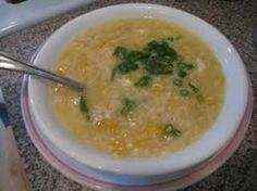 Easy Chinese Chicken and Corn Soup. GW ate 2 whole bowls, and GE finished her bowl. I just browned chicken chunks rather than poaching and added a bit of garlic, ginger and salt. Lots of crunchy corn kernels. Crab And Corn Soup, Chicken Corn Soup, Sweet Corn Soup, Crab Soup, Chinese Chicken Recipes, Asian Recipes, Healthy Recipes, Healthy Meals, Healthy Eating