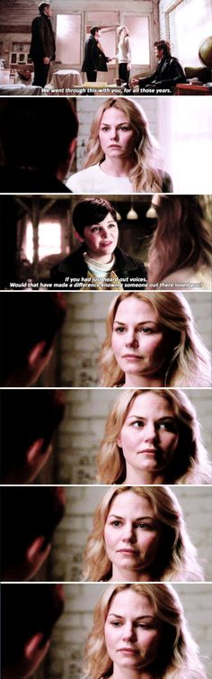 """If you had just heard our voices, would that have made a difference knowing someone out there loved you?"" - Snow, David, Emma and Killian #OnceUponATime"