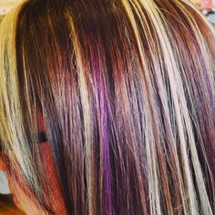 Blonde and purple highlights. Brown hair with highlights. Redken certified colorist