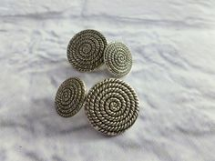 Vintage Mid Century Silver Tone Cuff Links,  Spiral Pattern, Men's Cufflinks, Gift for Him, by MuskRoseVintage on Etsy