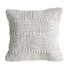 Creative Co-op Square Wool Knit Pillow in Cream, White Knit Pillow, Wool Pillows, Throw Pillows, Cushions, Cricut, Antique Farmhouse, Farmhouse Ideas, Creative Co Op, Decorating Small Spaces