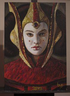 Queen Amidala - acrylic painting fanart, Byzwa Dher on ArtStation at https://www.artstation.com/artwork/WnYGJ