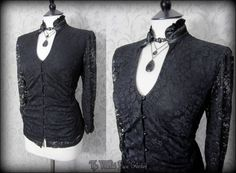 Romantic Gothic Black Lace High Collar Frill Top 16 Victorian Elegant Goth   THE WILTED ROSE GARDEN