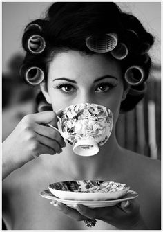 lady drinking tea #camillestyles #blackandwhite
