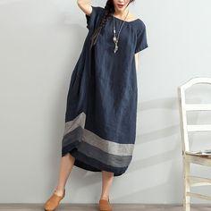 Short Sleeves Loose Stripe Linen Blue Dress