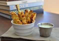 Fries get a healthy makeover when zucchini becomes their base. These zucchini fries are oven-baked, with a light breading and a fresh buttermilk ranch dressing.