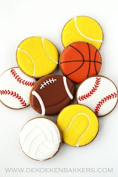 sports cookies~            By dekoekenbakkers, yellow tennis ball, Orange basketball, Brown football, white baseball