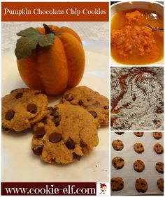 Pumpkin Chocolate Chip Cookies: ingredients, directions, and special baking tips from The Elf to make this easy variation on traditional chocolate chip cookies. Chocolate Chip Cookie Recipe Variations, Classic Chocolate Chip Cookies Recipe, Pumpkin Chocolate Chip Cookies, Chocolate Cookie Recipes, Chocolate Chip Oatmeal, Oatmeal Cookies, Drop Cookies, Cake Mix Cookies, Kiss Cookies