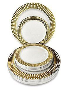 Plates Dinnerware.   OCCASIONS   50 Piece Wedding Plastic Plates - Disposable Dinnerware for 25  sc 1 st  Pinterest & OCCASIONS
