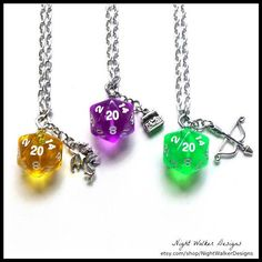 D20 Dice Necklace with Silver Charm  Your Choice of Colors & Charms  Translucent D20 Dice RPG Tabletop Gaming Nerd Gift DND Gamer Gift