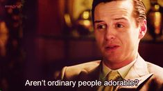 "Andrew Scott plays Sherlock's nemisis, Jim Moriarty.   Community Post: 19 Reasons Everyone Should Watch BBC's ""Sherlock"" Immediately"