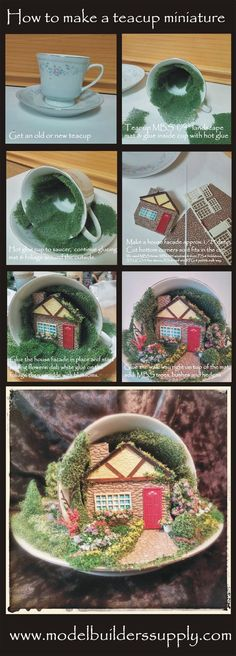 This is a teacup project we did for a show so we thought we would share. We'll work on detailed instructions, but this will get you started and your imagination will take over. All materials are available from Model Builders Supply (MBS). The plastic sheets, windows & doors listed for the house were all painted with acrylic paint. I printed a pic of curtains & glued it to the back of the window frame. A small area to work with, but you can really get carried away with this project. Have fun!