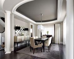 dark grey dining room | tray ceiling with dark grey ceiling in dining room.