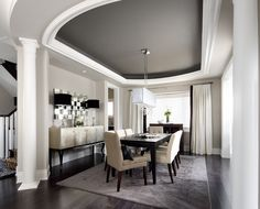 dark grey dining room | tray ceiling with dark grey ceiling in dining room.