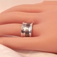 Vintage Sterling Silver Spinner Wide Band Ring/ 925 silver ring by EclairJewelry on Etsy