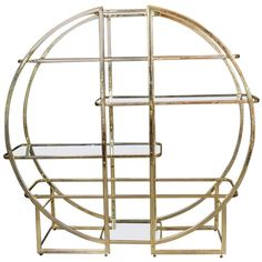View this item and discover similar for sale at - Beautifully shaped round edged book case / etagere / vitrine made of brass and with glass shelves. To be used against a wall or as a stand alone room divider. Wall Shelving Units, Cabinet Shelving, Glass Shelves, Display Shelves, Antique Furniture, Modern Furniture, Cabinet Inspiration, Black Piano, Modern Bookcase