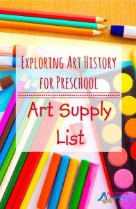 Art for Preschool - Art Supply List