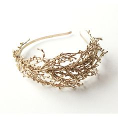 Golden bridal headband, Gold wedding headpiece, Gold branch... ($50) ❤ liked on Polyvore featuring accessories, hair accessories, hair fascinators, gold headband, head wrap headband, bridal hair accessories and fascinator hat