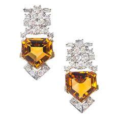 Art Deco pendientes naranja citrino y  diamantes.
