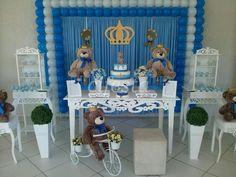 Chá de bebê com o tema ursinho príncipe - CIFESTA DECORAÇÕES Baby Shower Treats, Baby Shower Niño, Gold Baby Showers, Baby Shower Parties, Prince Birthday Party, Baby Birthday, Baby Prince, Kids Party Decorations, New Baby Boys