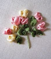 Embroidery of the month! This month I've done a simple silk ribbon embroidery design for you all! Simple Rose Bud Spray...