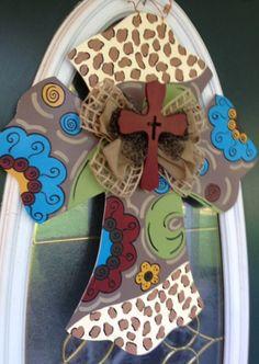 Funky Cross Door Hanger Sign by EllieBelliesSigns on Etsy, $35.00