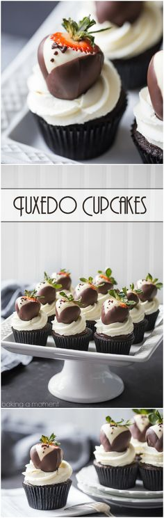 Tuxedo Cupcakes: moist, dark chocolate cake topped with rich ganache, fluffy whipped cream, and chocolate covered strawberries. These are so fun for a special occasion! food desserts cupcakes via Baking Cupcakes, Yummy Cupcakes, Cupcake Recipes, Baking Recipes, Cupcake Cakes, Dessert Recipes, Baking Desserts, Chocolate Yogurt, Dark Chocolate Cakes